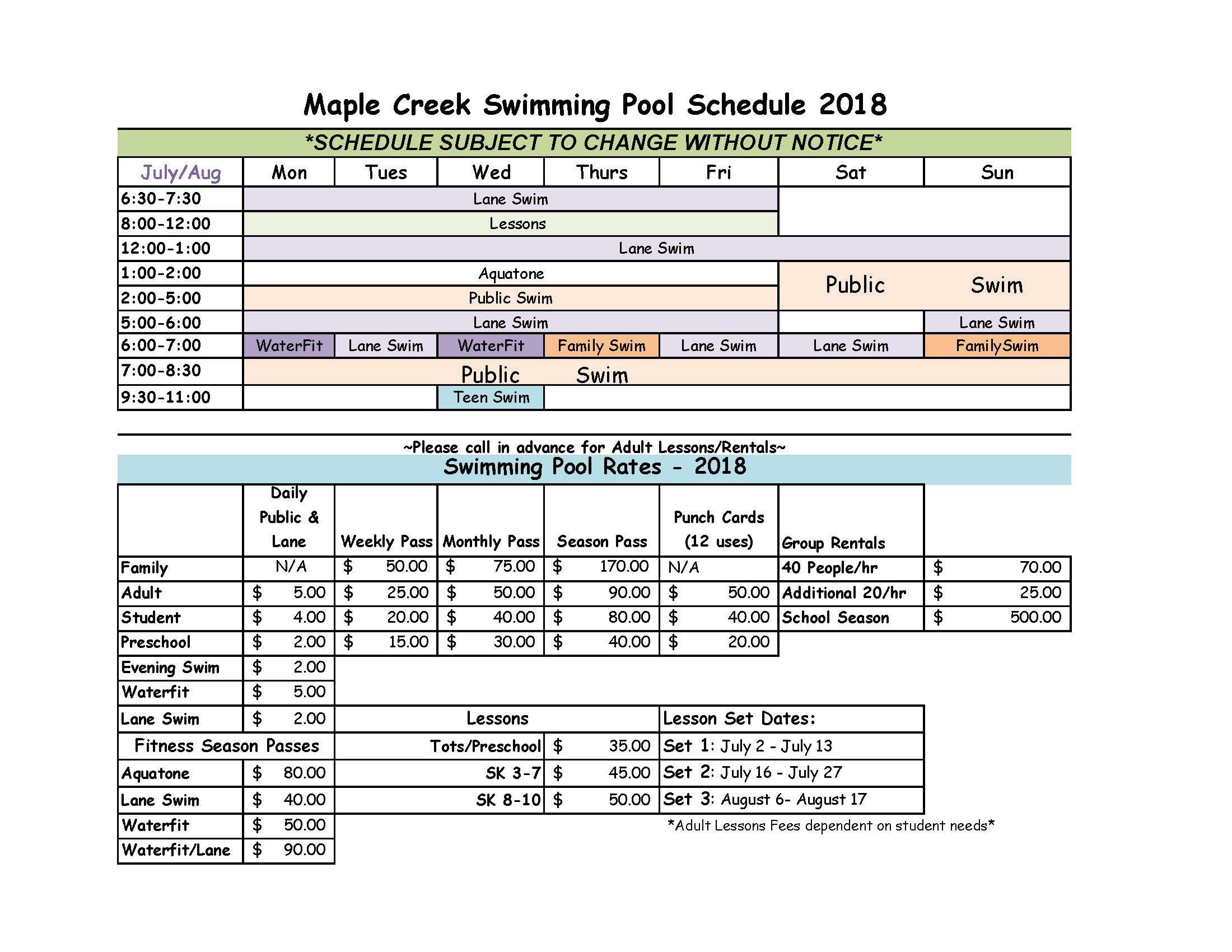 2018 Pool Schedule & Rates